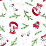 Christmas seamless pattern with fir branches knitted sweater,scarf,mittens and winter hat on white background.Watercolor. Christmas seamless pattern with fir royalty free illustration