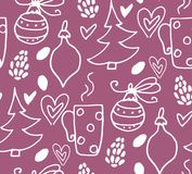 Christmas seamless pattern with fir tree. Cones, berries, vector Stock Image