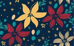 Christmas seamless pattern with fir tree. Poinsettia, cones, berrie vector Royalty Free Stock Images