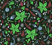 Christmas seamless pattern with fir tree. Poinsettia, cones, berries, notes cone christmas tree Stock Photography