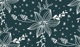 Christmas seamless pattern with fir tree. Poinsettia, cones, berries vector Stock Photos