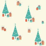 Christmas seamless pattern with fir tree and presents Royalty Free Stock Photo