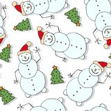 Christmas seamless pattern with fir trees and funny snowman. New Year design for wallpaper and wrapping paper. Stock Photo