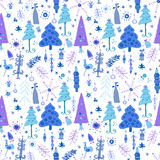 Christmas seamless pattern with fir trees. Stock Photo