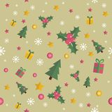 Christmas seamless pattern with flat n elements Royalty Free Stock Photo