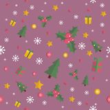 Christmas seamless pattern with flat n elements Stock Photos