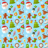 Christmas seamless pattern with flat Santa, deer, gingerbread  Royalty Free Stock Photos