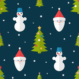 Christmas seamless pattern in flat style. Christmas seamless pattern with fir trees, snowmen and Santa in flat style Royalty Free Stock Photography