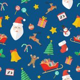 Christmas seamless pattern in flat style Stock Image