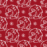Christmas seamless pattern with foxes sleeping and snowflake Royalty Free Stock Photography