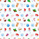 Christmas seamless pattern with funny cartoon characters. Good for wrapping that can later be reused for cutting decoration. Christmas seamless pattern with Stock Image