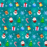 Christmas seamless pattern with funny cartoon characters. Good for wrapping. Christmas seamless pattern with funny cartoon characters. Vector illustration. Flat Royalty Free Stock Photography