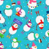 Christmas seamless pattern with funny characters of snowman. Funny cartoon christmas snowman. Vector illustration Stock Photo