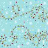 Christmas seamless pattern with garland. Royalty Free Stock Photo