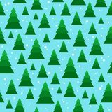Christmas seamless pattern with geometrical fir-trees. Christmas seamless pattern with geometrical fir-trees on snow background. Winter holidays design. Modern Royalty Free Stock Image