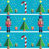 Christmas Seamless pattern with geometrical nutcracker soldier  with  gifts with ribbon, snow, sweets,  xmas trees. With  pink lights and star element in 2 Stock Photo