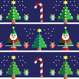 Christmas Seamless pattern with geometrical nutcracker soldier  with  gifts with ribbon, snow, sweets,  xmas trees Stock Photos