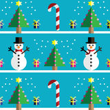 Christmas Seamless pattern with geometrical Snowman with scarf and with bow tie , gifts with ribbon, snow, sweets,  xmas trees Royalty Free Stock Photography