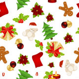 Christmas seamless. Pattern with gift, bell, candle and other elements. Seamless pattern can be used for wallpapers, web page backgrounds Royalty Free Stock Photography