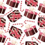 Christmas seamless pattern with gift boxes stock illustration