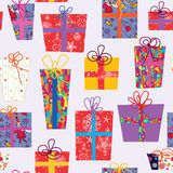 Christmas seamless pattern with gifts Royalty Free Stock Photography