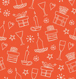 Christmas seamless pattern with gifts, candles, goblets. Endless doodle background with boxes of presents. Hand drawn decorative h Royalty Free Stock Photography
