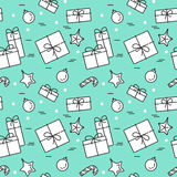 Christmas seamless pattern with gifts, decorations Linear stile. Christmas and New Year seamless pattern with gifts, decorations, candy. Vector linear royalty free illustration