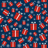 Christmas seamless pattern with gifts, snowflakes Royalty Free Stock Photography
