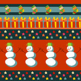 Christmas seamless pattern. With gifts, stars and snowmen Royalty Free Stock Photo