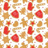 Christmas seamless pattern with ginger bread.Holiday cookies royalty free illustration