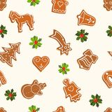 Christmas seamless pattern with gingerbread Royalty Free Stock Image