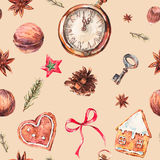 Christmas seamless pattern with gingerbread cookies. Watercolor Christmas seamless pattern with gingerbread cookies, fir branches and old vintage pocket watch Royalty Free Stock Images
