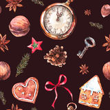Christmas seamless pattern with gingerbread cookies. Watercolor Christmas seamless pattern with gingerbread cookies, fir branches and old vintage pocket watch Royalty Free Stock Photo