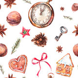 Christmas seamless pattern with gingerbread cookies. Watercolor Christmas seamless pattern with gingerbread cookies, fir branches and old vintage pocket watch Stock Photo