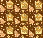 Christmas seamless pattern with gingerbread house and cookie. Cookies endless texture. Winter Holidays, wallpaper Royalty Free Stock Image