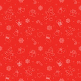 Christmas seamless pattern with gingerbread man, mittens, bells and snowflakes in bright red color. For print and web. Stock Photography