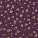 Christmas seamless pattern with gold snowflakes on dark purple pastel background. Holiday design for Christmas and New royalty free illustration