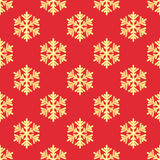 Christmas seamless pattern with gold snowflakes. On red background Royalty Free Stock Photo