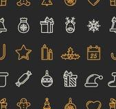 Christmas Seamless Pattern. Golden and Black Colours. Luxury Trendy Thin Line Design. Vector Illustration stock illustration