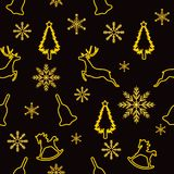 Christmas seamless pattern, golden strokes of Christmas tree, deer, Christmas bell, rocking horse and snowflakes on black backgrou royalty free illustration