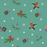Christmas seamless pattern with green background stock illustration