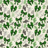 Christmas seamless pattern with christmas bows. Christmas seamless pattern with christmas green bows Stock Photography