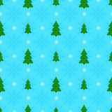 Christmas seamless pattern. With green fir-trees and snow Royalty Free Stock Images