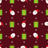 Christmas seamless pattern. With green presents and santa Royalty Free Stock Photography
