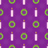 Christmas seamless pattern. With green wreath and candles Stock Photography