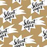Christmas seamless pattern with hand drawn comet and handwritten Silent night text. Wrapping paper design. Vector illustration Royalty Free Stock Photo