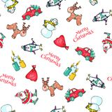 Christmas Seamless Pattern Hand Drawn Elements. Sketch ofdeer and santa. Stock Photography
