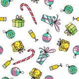 Christmas Seamless Pattern Hand Drawn Elements. Xmas presents and balls. Stock Photos