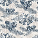 Christmas seamless pattern. With hand drawn fir tree, fir cones and bells in vintage style. Vector Stock Photo