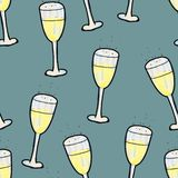 Christmas seamless pattern hand-drawn. A glass of champagne on a dark background. Happy New Year royalty free illustration